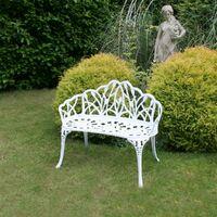 Charles Bentley White Tulip Cast Aluminium Metal 2 Seats Garden Patio Bench Seat - White
