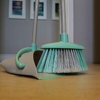 Charles Bentley Brights Indoor Long Handled Lobby Dustpan & Brush Set Mint Green - Green
