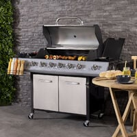 Charles Bentley 7 Burner (6+side) Premium Gas BBQ - Stainless Steel - Silver