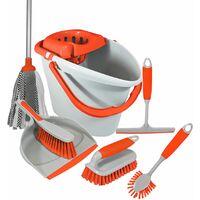 Charles Bentley 'Brights' Kitchen Bundle Set Mop Brush Scrub Squeegee Orange - Orange