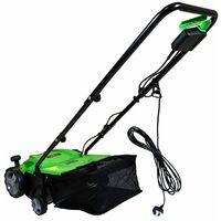 Charles Bentley 1500W 2 in 1 Electric Garden Scarifier & Aerator Lawn Raker - Green