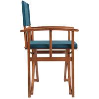 Charles Bentley FSC Wooden Pair of Folding Directors Chairs Teal Pop-Up Garden - Blue