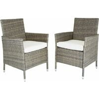 Charles Bentley Garden Outdoor Pair of Rattan Dining Chairs Natural - Natural