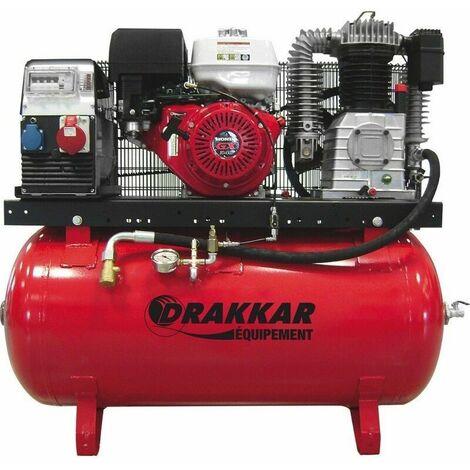 Compresseur thermique 11CV 230L moteur HONDA - air + elec 380V Drakkar