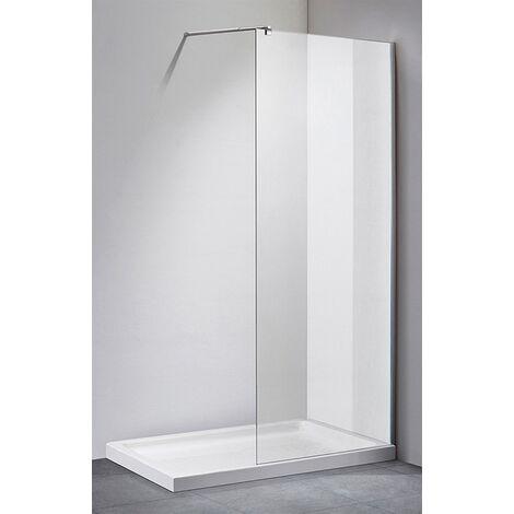 Parete doccia fissa box 1 lato walk in 198 cm vetro cristallo trasparente 8mm misura: 80 cm con barra di sostegno