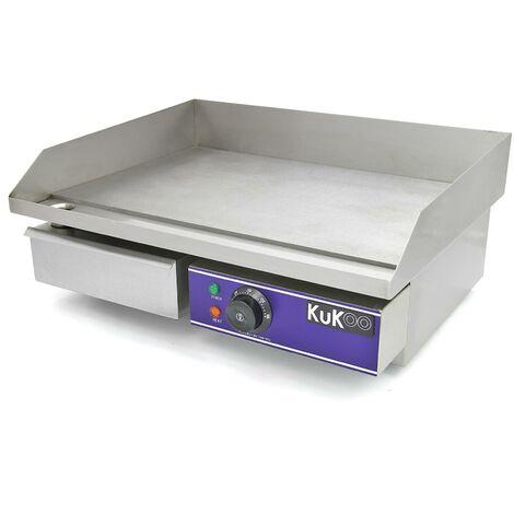 KuKoo Plancha Plaque de Cuisson Grill Electrique Professionnelle en Acier Inoxydable de 50cm - Argent
