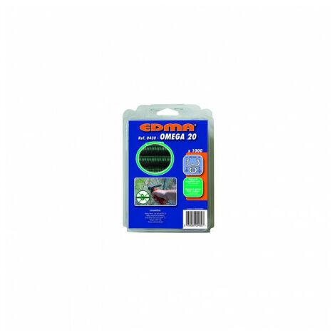 Agrafes OMEGA 20 plastifiées vert - 1000 pièces