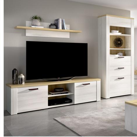 Mueble de salón Comedor, módulo TV 2 puertas + Estante + Vitrina 2 puertas y cajon , acabado Milan