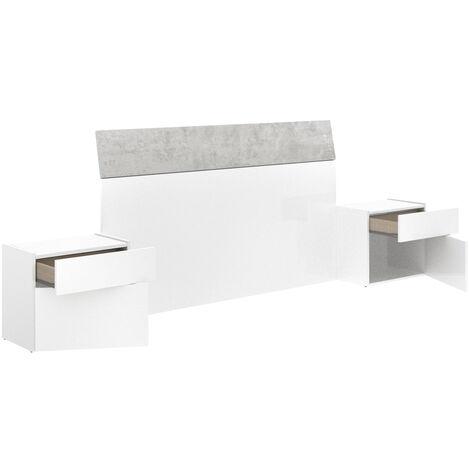 M226 Cabezal Cama dormitorio y mesitas INCLUIDAS, cabecero en color Gris cemento y Blanco 258 x 100 x 34 cm de Fondo