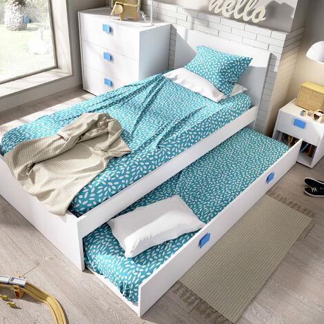 Cama Nido con cama inferior incluida, ideal para habitaciones infantiles y juveniles. 76 cm (alto) x 96 cm (ancho) x 196 cm (prof.) AZUL