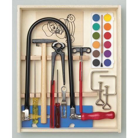 Pebaro Jeu de scie à chantourner 16 pièces, boîte en bois remplie d'outils + plaque de travail