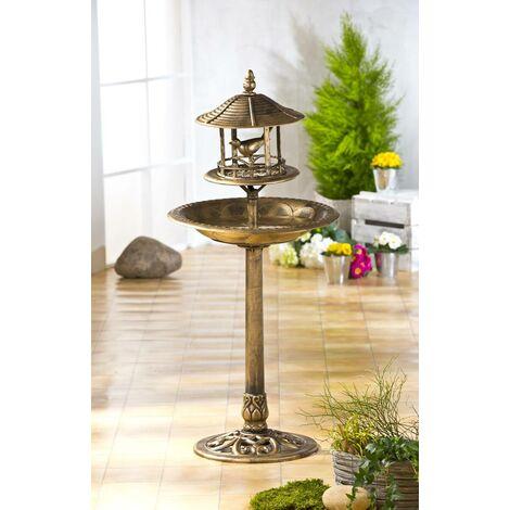 Bain solaire pour oiseaux avec bac à fleurs décoratif - éclairage à énergie solaire - couleur bronze - éclairage à énergie solaire - différentes couleurs disponibles