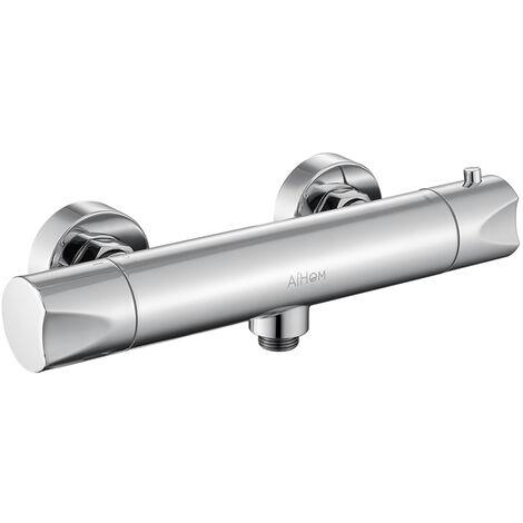 En laiton chrom/é Chrom/é Avec raccord haut G 3//4 et bas G 1//2 Mitigeur de douche thermostatique pour douche avec bouton de s/écurit/é /à 38 /°C