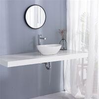 Vasque Salle de Bain Lavabo Vasque en Céramique Blanc Vasque à Poser Ovale avec Bonde Siphon Lave Main Haut de Gamme