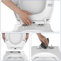 Abattant WC Soft Close Lunette de Toilette avec Frein de Chute Siège de Toilette en UF Abaissement en Douceur sans Bruit