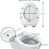 Abattant WC Frein de Chute Lunette de Toilette en Forme de O Siège de Toilette Dégagement Rapide à Un Bouton Charnière Réglable
