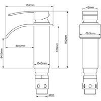Robinet Salle de Bain Cascade Mitigeur de Lavabo en Laiton Robinet à Deux Voies Chromé Design Moderne
