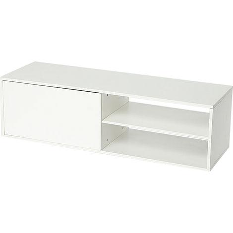 meuble tv scandinave bois et blanc 130 42 35 cm jeobest