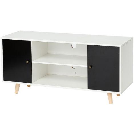 Meuble TV scandinave pieds en bois gris foncé et blanc