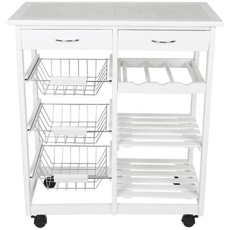 JEOBEST®Chariot de service desserte à roulettes multi-rangements tiroirs étagères range bouteilles bois de cuisine à roulettes