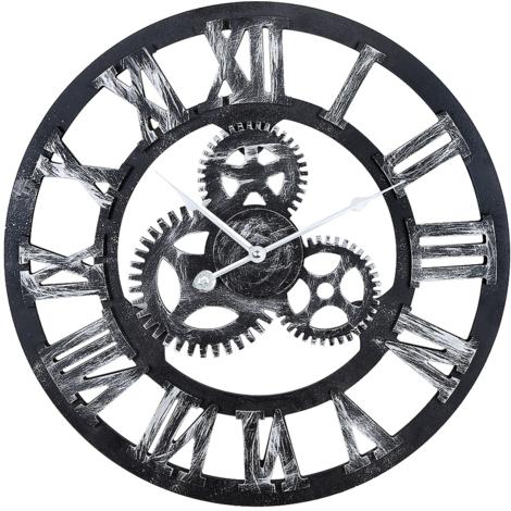 JEOBEST®Murale 3D Vintage machinerie Home Decor Modern Design Horloge murale Horloge en métal Edena - noir - Horloge géante vintage