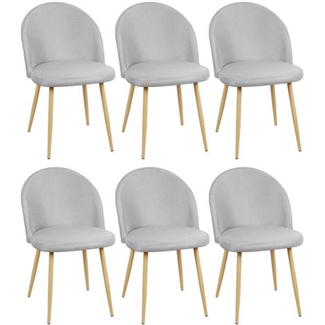 Lot de 6 chaises salle à manger Gris clair macaron Rêvetement en tissu et pieds en bois - Chaise style scandivave