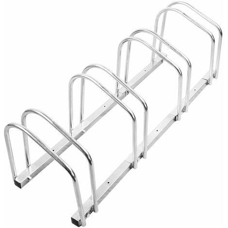 Râtelier Familial pour Vélo, Support de Rangement Vélo, Peut contenir 4 vélos, vélos garage pratique au sol ou mural acier - Argent