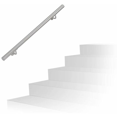 JEOBEST®Lot De 1 Rambardes 150 cm Inoxydable Rampes Escalier, Mains Courantes - Argent