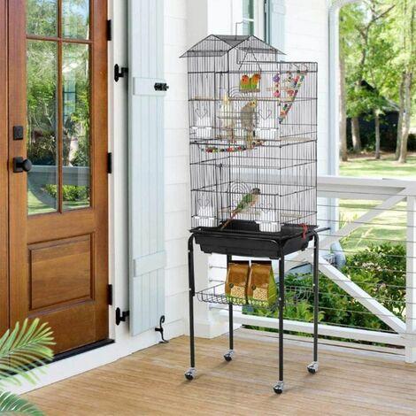 Cage Oiseaux Volière avec 4 roulettes 46*35.5*158.5cm  - noir - Noir