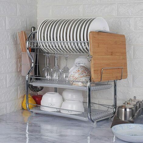 Égouttoir à vaisselle 3 étages  Porte-couverts Bac de récupération crochets pour tasses et assiettes en métal Planche à découper - Argent