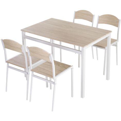 Homcom Set Da Pranzo Tavolo E 4 Sedie In Metallo E Mdf Bianco E Legno