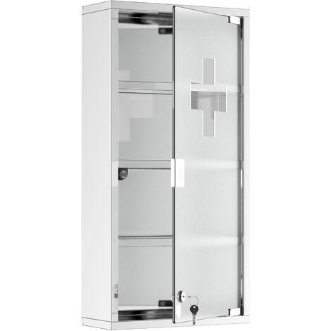 HomCom Armadietto Medicinale Cassetta Porta Medicina a Quattro Ripiani in Acciaio Inox 30x12x60cm
