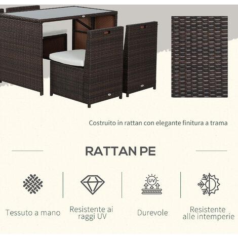 Outsunny Set Mobili Da Giardino In Pe Rattan E Acciaio 5 Pezzi Tavolo Pranzo 4 Sedie Con Cuscini Combinabili A Cubo
