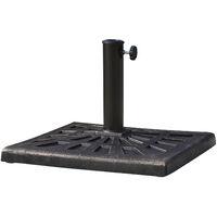 Nero Outsunny Set 4 Basi a Croce per Ombrelloni da Giardino Riempibili con Acqua e Sabbia 51x51x12cm