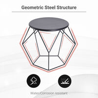 Homcom Tavolino Geometrico di Design in Acciaio, Nero, 54x54x44cm