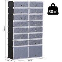 Homcom Scarpiera Modulare 16 Cubi in PP Bianco e Nero 95x37x160cm
