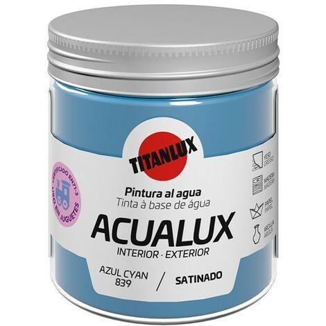 Peinture à l'eau Acualux Blue Colors Titanlux | 839-Blue Cyan - 75 ml