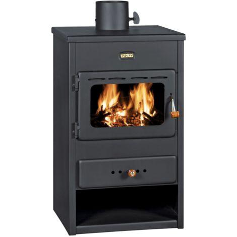 Stufa a legna modello Kos - 13 kW in acciaio colore nero opaco con vista fuoco