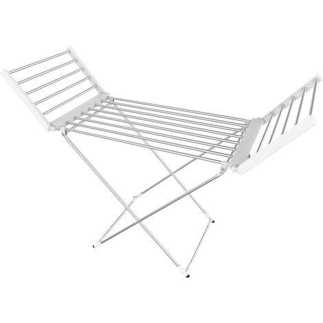 Sèche-Linge Electrique, Etendoir Pliant d'Intérieur à Etages, Classique, Blanc, Dimensions du produit replié: 113 x 53 x 7 cm