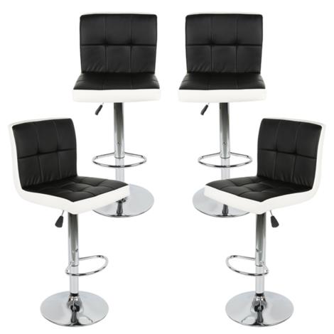 4er Set Soft Barhocker Barstuhl Tresenhocker Küchenhocker Loungesessel Gitter mit Lehne Schwarz-Weiß