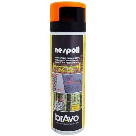 NESPOLI Peinture Aérosol Marquage Permanent Orange Fluo - 0,5 L