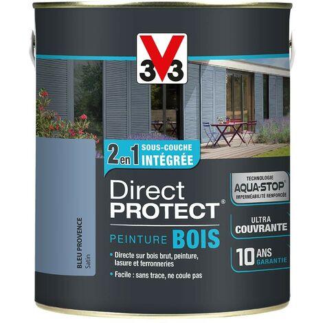 V33 Peinture Direct Protect Bois Bleu Provence 0,5 L - Bleu provence