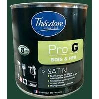 Théodore Pro'G Peinture Bois & Fer Vert jardin 0,5 L - Vert jardin