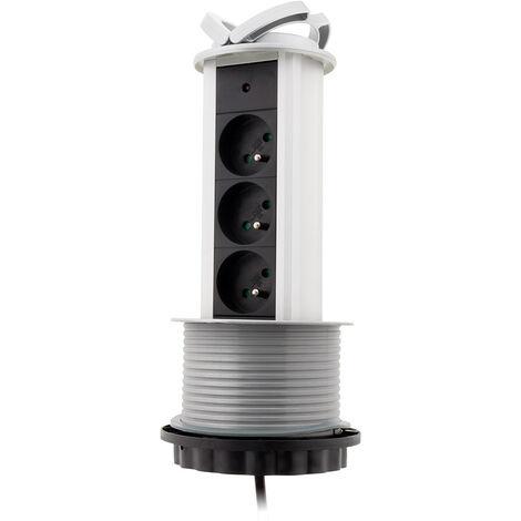Bloc 3 prises 16A 2P+T escamotable câblé HO5VV-F 3G1 -1,60m - Zenitech