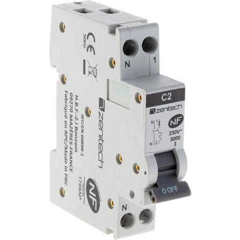 Disjoncteur PH/N - 2A NF pour cumulus et chauffe-eau - Zenitech