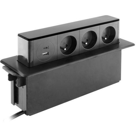Bloc multiprise encastrable 3x 16A 2P+T avec 2 ports USB - Otio
