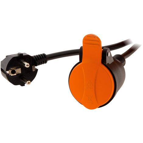 Rallonge étanche 2P+T H07RN-F 3x 1,5mm² 5m avec clip de fixation orange - Zenitech