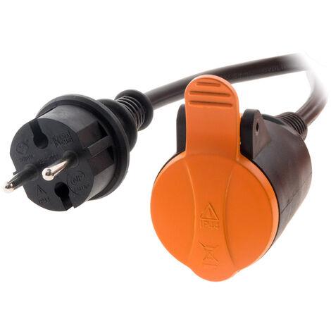 Rallonge étanche 2P H05VV-F 2x 1,5mm² 10m avec clip de fixation orange - Zenitech