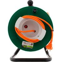 Enrouleur jardin étanche IP44 câble orange 2x1,5 mm² 22+3m avec prise 16A 2P+Terre à clapet & coupe circuit - Zenitech