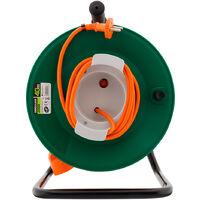 Enrouleur jardin étanche IP44 câble orange 2x1,5 mm² 37+3m avec prise 16A 2P+Terre à clapet & coupe circuit - Zenitech